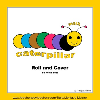 Roll and Cover dice game - math caterpillar - 1 to 6 with