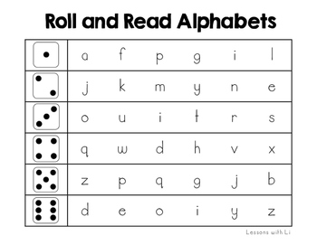 Roll and Read Alphabet FREEBIE