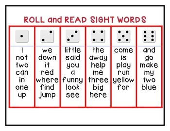 Roll and Read Dolch Sight Words