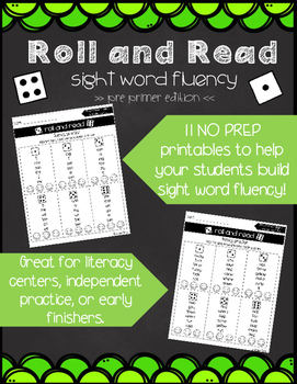 Roll and Read Fluency - Pre Primer sight words