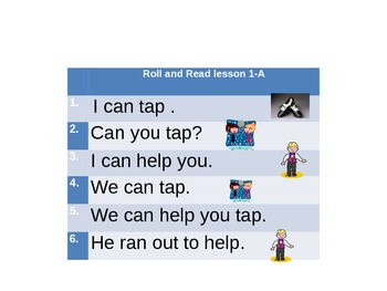 Roll and Read Games with High frequency words Lessons 1-5