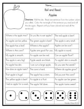 Roll and Read Reading Fluency: Apples