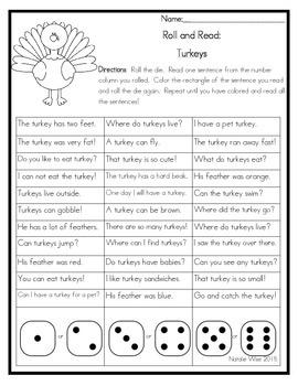 Roll and Read Reading Fluency: Turkeys