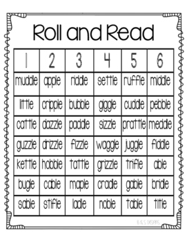Roll and Read -le endings