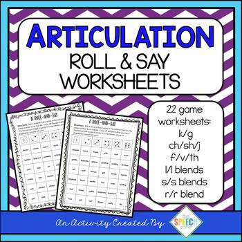 No Prep Articulation Roll & Say Worksheets