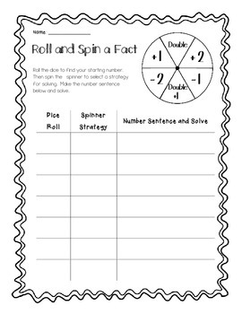Roll and Spin a Fact - Practicing Basic Facts (Addition /