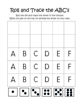 Roll and Trace the ABCs
