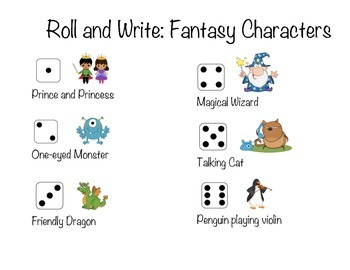 Roll and Write: Fantasy Characters