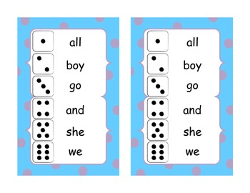 Roll and Write Kindergarten High Frequency Words