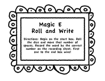 Roll and Write Magic E