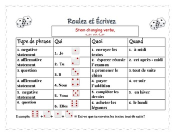 Roll and write stem changing verbs