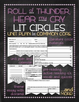 Roll of Thunder, Hear my Cry Lit Circles Unit Plan for Com