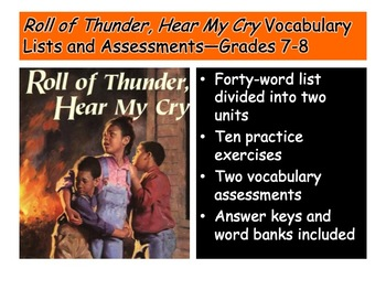 Roll of Thunder, Hear My Cry Vocabulary List and Assessmen