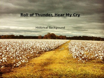 'Roll of Thunder, Hear My Cry' pre-reading PowerPoint
