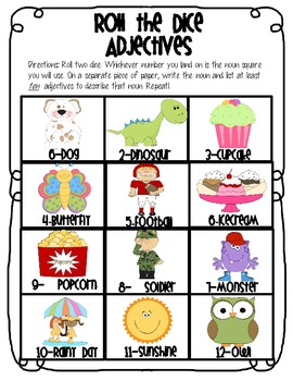 Roll the Dice Adjectives