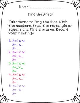 Roll the Dice Area Game Printable