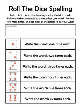 Roll the Dice Spelling Homework