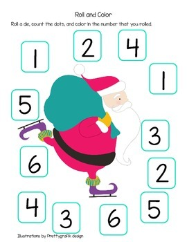 Roll the Die and Colour with Santa and a Christmas Tree (A