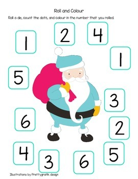Roll the Die and Colour with Santa and a Reindeer (British