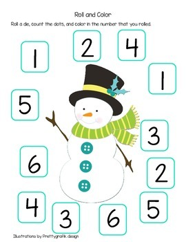 Roll the Die and Colour with Snowmen (American Spelling)