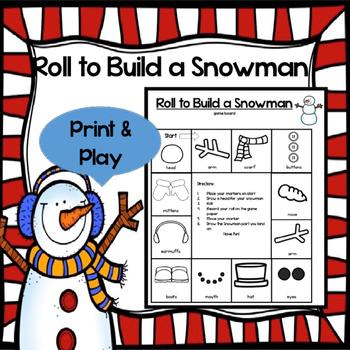 Roll to Build a Snowman Math Game