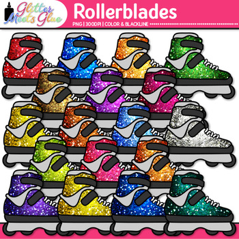 Rainbow Rollerblades Clip Art {Sports Equipment for Physic