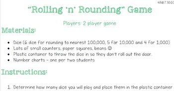 Rollin n Rounding Game - Rounding Multi-digit Whole Numbers
