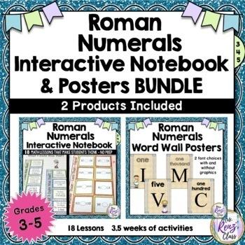 Roman Numerals Interactive Notebook Grades 3-5 Plus Roman