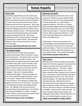 Roman Republic Reading and Worksheet