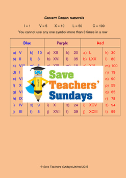 Roman numerals lesson plans, worksheets and more