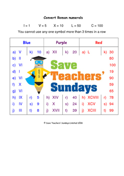 Roman numerals worksheets (3 levels of difficulty)