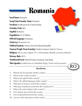 Romania Information & Worksheet
