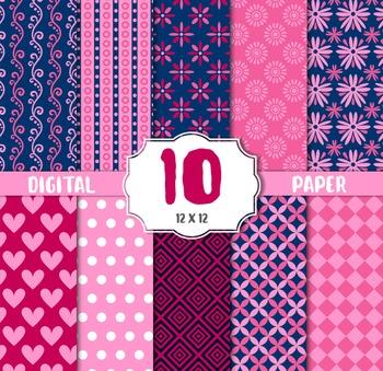 Romantic Digital Paper, Pink Red Hearts Valentines Scrapbo