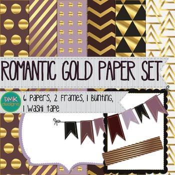 Digital Paper and Frame Set- Romantic Gold