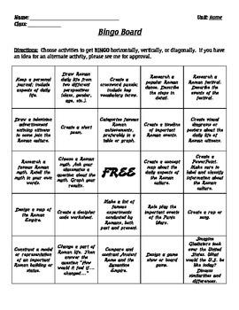 Rome - Bingo Board
