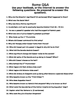 Rome Question and Answer/Webquest