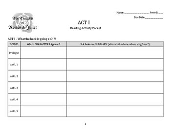 Romeo & Juliet: Act 1 Activity Packet