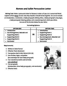 Romeo and Juliet Act 2 Persuasive Letter - Graphic Organiz