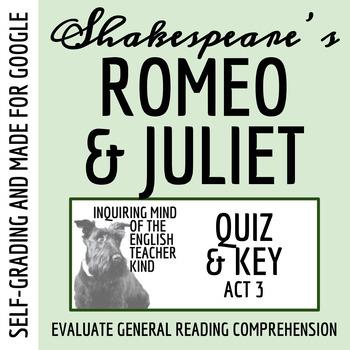 Romeo & Juliet Quiz - Act 3 (Common Core Aligned)