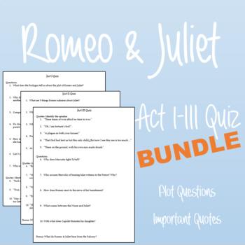 Romeo & Juliet Quiz Bundle: Acts I-III