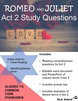 Romeo and Juliet Act 2 Vocabulary, Literary Terms, and Gui