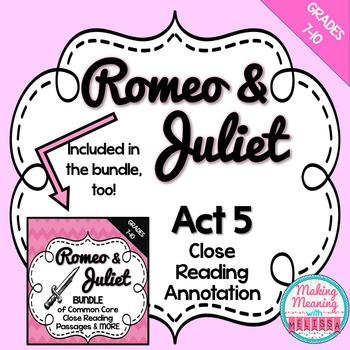 Romeo and Juliet Act 5 Close Reading Annotation