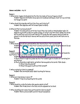 Romeo and Juliet Act IV Reading Guide
