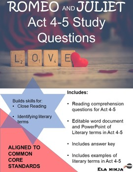 Romeo and Juliet Acts 4-5 Vocabulary, Literary Terms, & Gu