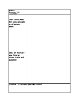 Romeo and Juliet Cornell Notes Act 1 Scene 4