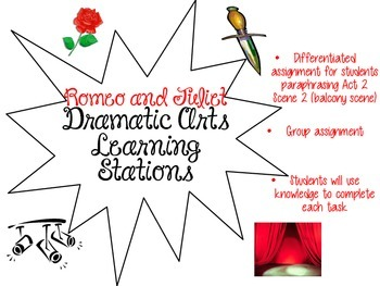 """""""Romeo and Juliet"""" Dramatic Arts Learning Stations"""