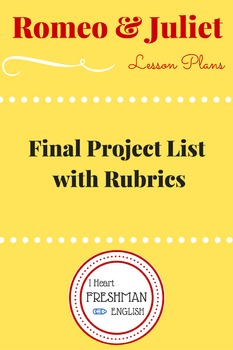 Romeo and Juliet Final Project List with Rubrics (six to c