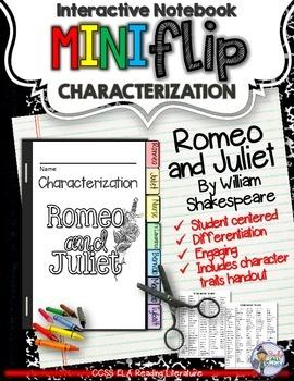 ROMEO AND JULIET: INTERACTIVE NOTEBOOK CHARACTERIZATION MINI FLIP