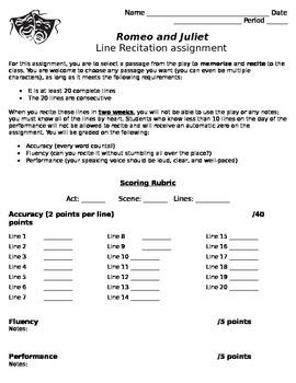 Romeo and Juliet Line Recitation Assignment
