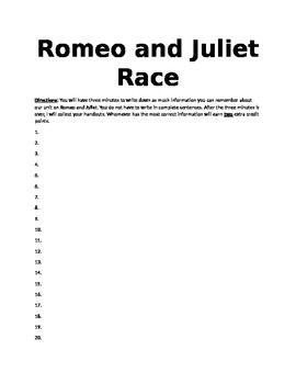 Romeo and Juliet Race